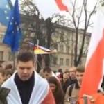 Белорусские оппозиционеры вышли на митинг с флагами Евросоюза